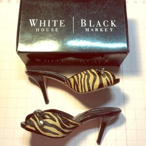 New WHBM animal print leather & patent heels Sz 7